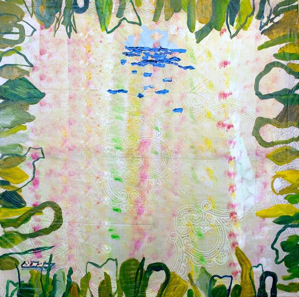 Person on a Lilo, Plants and Sea