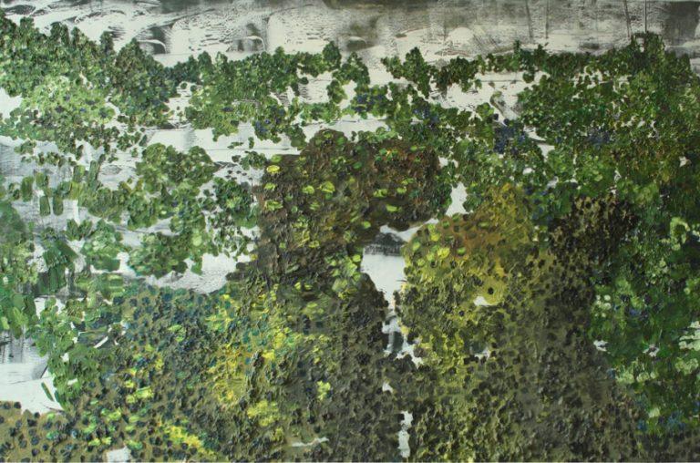Imaginary landscape on Black and White Mono print