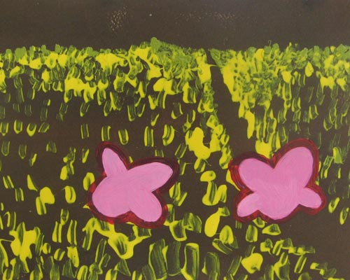 Pink Flowers in a Yellow Field