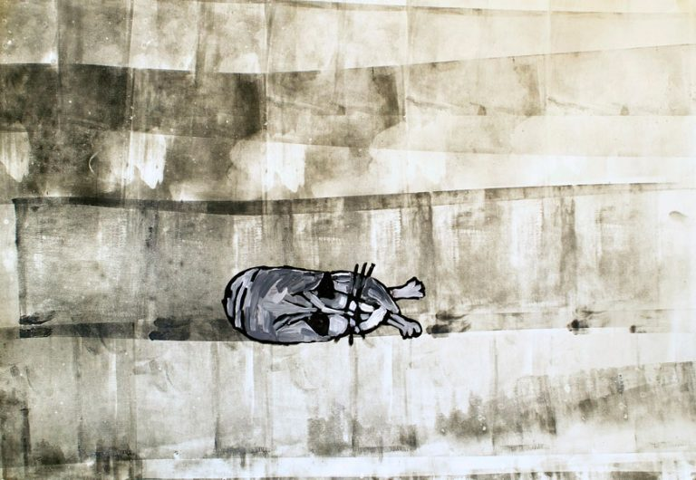 Black and White Cat on Monoprint